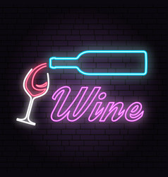 Retro neon wine sign on brick wall background vector