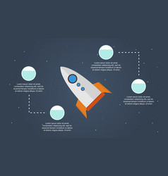 Rocket style business infographic step concept vector