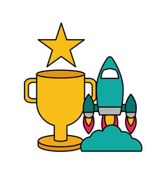 Rocket trophy star video game vector