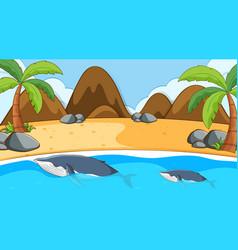 Scene with whale in ocean vector