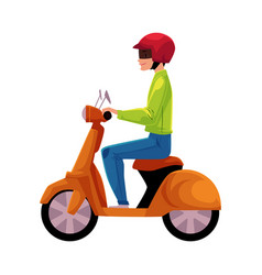 scooter moped motor bicycle rider wearing helmet vector image