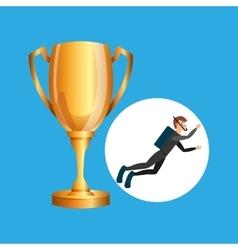 Scuba diver man trophy sport design vector