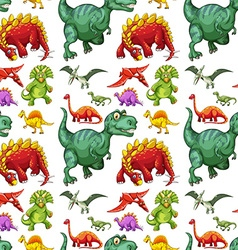 Seamless different kind of dinosaurs vector image