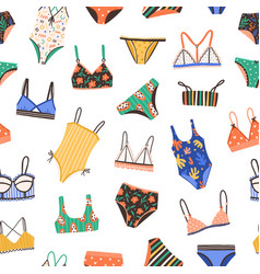 Seamless pattern with bikini and swimsuit vector