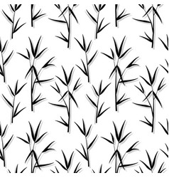 seamless pattern with black bamboo leaves and vector image