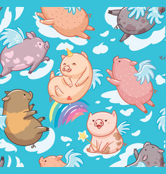 seamless pattern with mini piggy in clouds vector image