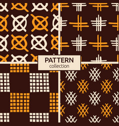 set four abstract seamless patterns hand vector image