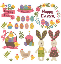 set isolated happy easter design elements vector image