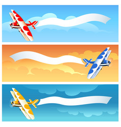 Set of airplane with blank banner vector