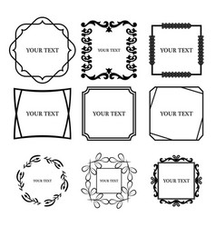 set of outline decorative vintage frame vector image