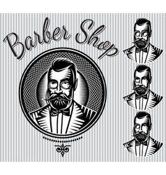 set of templates for hairdresser gentlemen vector image