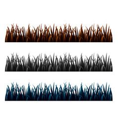 set of three grass isolated on white background vector image