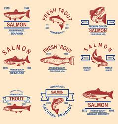 set salmon trout seafood labels design element vector image