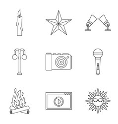 shine forth icons set outline style vector image