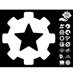 Star Favorites Options Gear Icon with Tools vector