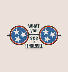 State of tennessee flag and text vector