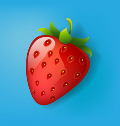 strawberry isolated on blue background vector image