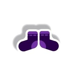 Stylish icon in paper sticker style children socks vector