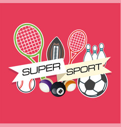 super sport equipment pink background image vector image