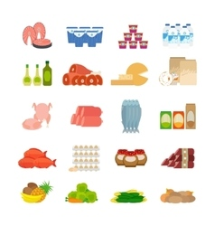 Supermarket food flat icons vector image