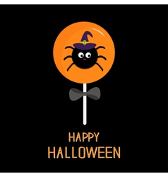 Sweet candy lollipop with spider in witch hat vector image