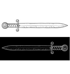 sword hand drawn sketch vector image