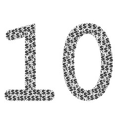 Ten digits text collage of dollar and dots vector