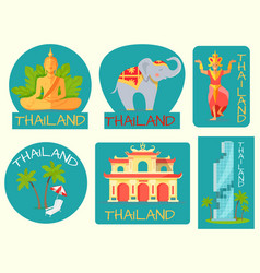 thailand poster of cards with symbolic signs vector image vector image