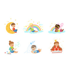 Toddlers and magical dreams vector