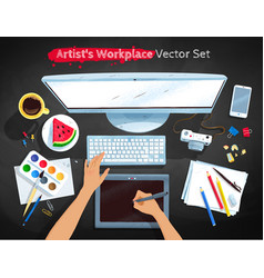 Top view set of artists workplace vector