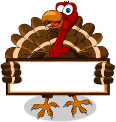 turkey cartoon with blank board vector image