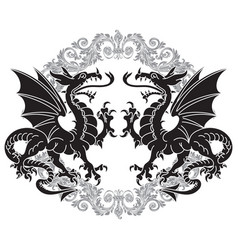 two winged heraldic dragon and victorian pattern vector image