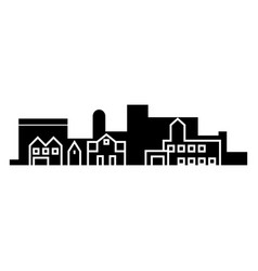 village skyblack black icon concept village vector image