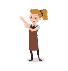 waiter woman wearing uniform holding a dish vector image