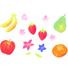 Watercolor fruit and flowers vector