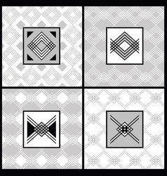 white and gray modern art deco patterns set vector image
