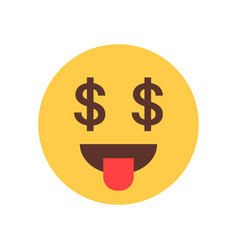 Yellow smiling cartoon face show tongue money rich vector