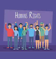 Young people group with human rights label vector