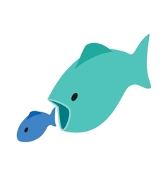 Big fish eats little fish icon isometric 3d style vector image