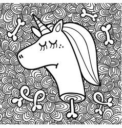 dead unicorn head on the abstract background vector image