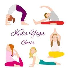 Yoga kids set Gymnastics for children vector image