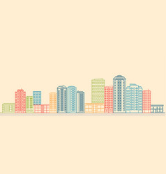 city landscape with buildings and shops vector image