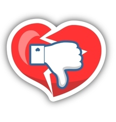 Dislike Heart Icon With Shadow vector image