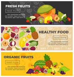 fresh farm fruits berries healthy organic food vector image vector image