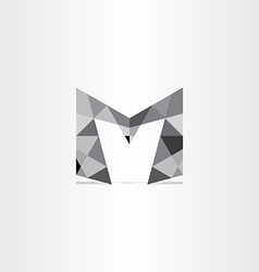 letter m polygon grayscale icon vector image