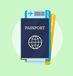 Passport and airline boarding pass tickets vector
