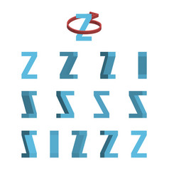 sheet of sprites rotation of cartoon 3d letter z vector image vector image