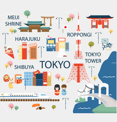 Tokyo travel map in flat vector