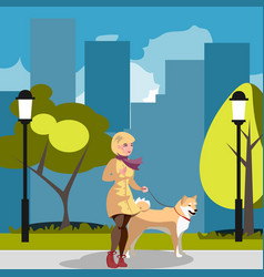 young woman walking a dog vector image vector image