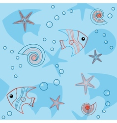 Blue seamless pattern with sea life vector image